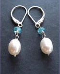Apatite and Freshwater Pearl Earrings