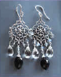 Labradorite, Onyx and Crystal Earrings